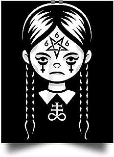 macknessfr Creepy Cute Satanic Goth Girl W Pentagram and Crosses Wall Art Print Poster Home Decor(24x31)