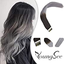 Youngsee 16inch 20pcs 100% Ombre Human Hair Tape in Hair Extensions Natural Black to Blue Grey Silk Straight Skin Weft Human Hair Extensions 50gram