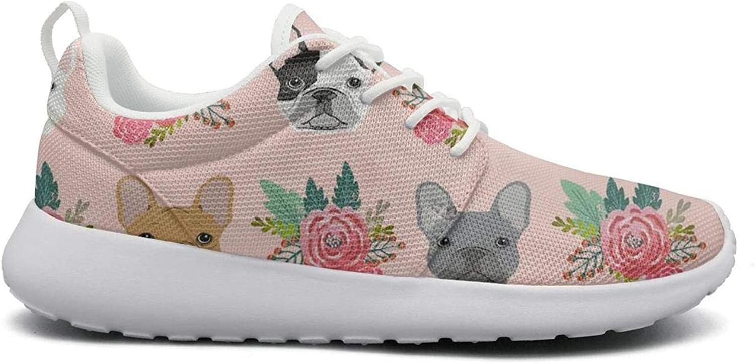 Women Funny Lightweight shoes Sneakers Pink French Bulldog Flowers Florals Canvas Upper Running Lace-Up