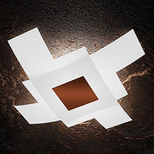 Plafonnier moderne LED 4 x E27 Verre Blanc et plaque en métal Corten rectangulaire l 95 cm