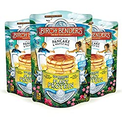 Three 14 ounce resealable pouches of Birch Benders Plant Protein pancake mix. Made with pure plain-based protein and whole grains. Each bag makes 20 Medium pancakes. Birch Benders Plant Protein pancakes are vegan with pure plant-based proteins and wh...
