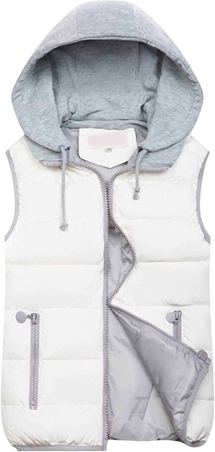 YMING Womens Hooded Solid Color Vest Winter Sleeveless Down Coat Zipper Outwear