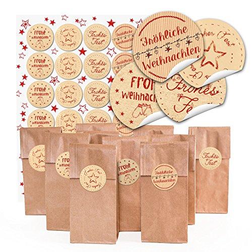 Logbuch-Verlag 24 braune Geschenktüten Weihnachtstüten lebensmittelecht 7 x 4 x 20,5 cm+ 24 Weihnachtsaufkleber 4 cm Weihnachten Verpackung Pralinen Tee