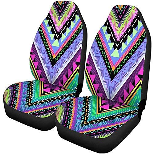 Autostoelhoezen, kleurrijk tribal, aztekenpatroon, bohème, boho, neon, badpak, set met 2 accessoires voor auto, accessoires