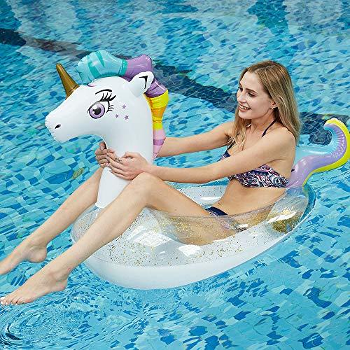 JCT Aufblasbare Einhorn Pool Float Einhorn Floats Schwimmring Pool Schwimmen Ring Schwimmreifen Sommerliches Wasserspielzeug Aufblasbar Schwimmring für Erwachsene Kinder Mädchen (Unicorn, White)