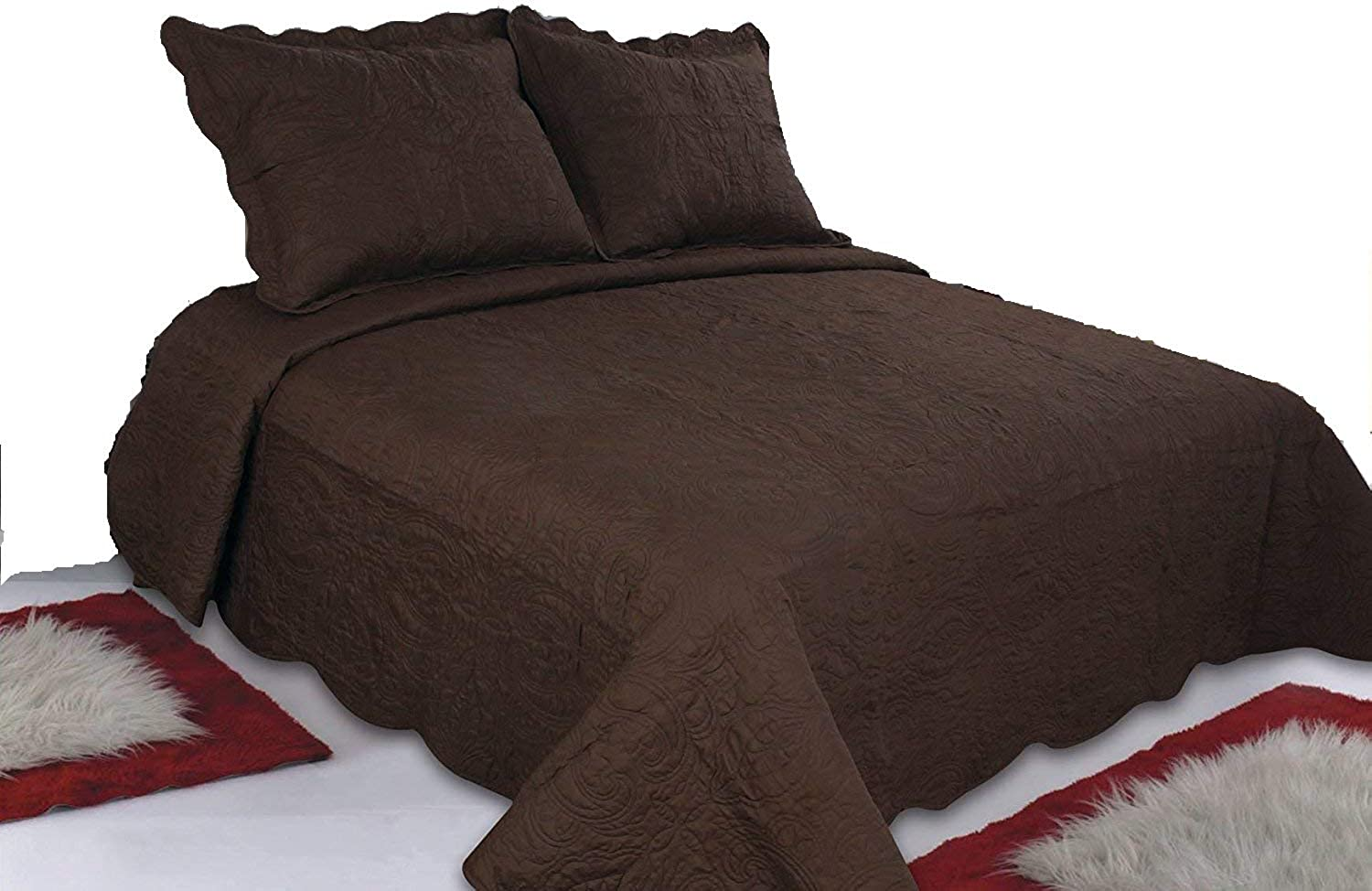 ALL FOR YOU 3-Piece Reversible Bedspread Quilt Set-Chocolate Brown (Larger King with King Size Pillow Shams)