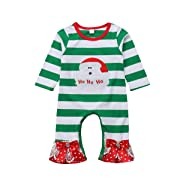 citgeett Christmas Infant Newborn Baby Girls Striped Santa Romper Jumpsuit Bowknot Sleepwear Pajamas Suit Green