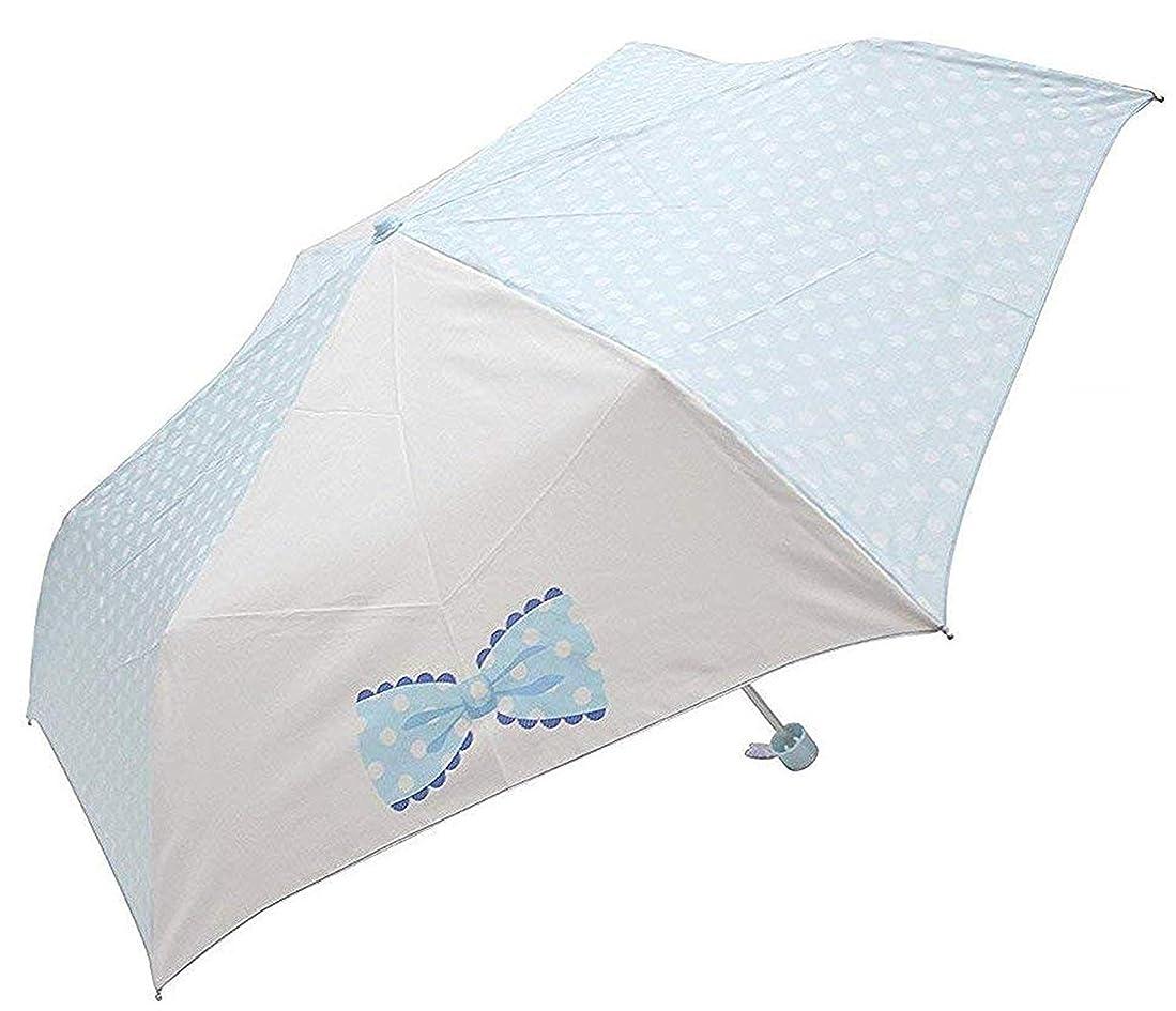 入植者ジャズ貧困ランドセルに入る かる~~いミニ傘! 約206g リボン 水玉 (サックス.)