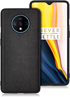 FOSO(™) Back Cover Case for OnePlus 7T Fabric Case (Fabric Black)