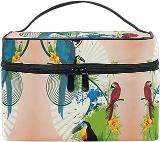 青赤黒鳥オウム化粧品袋オーガナイザージッパー化粧バッグポーチトイレタリーケースガールレディース