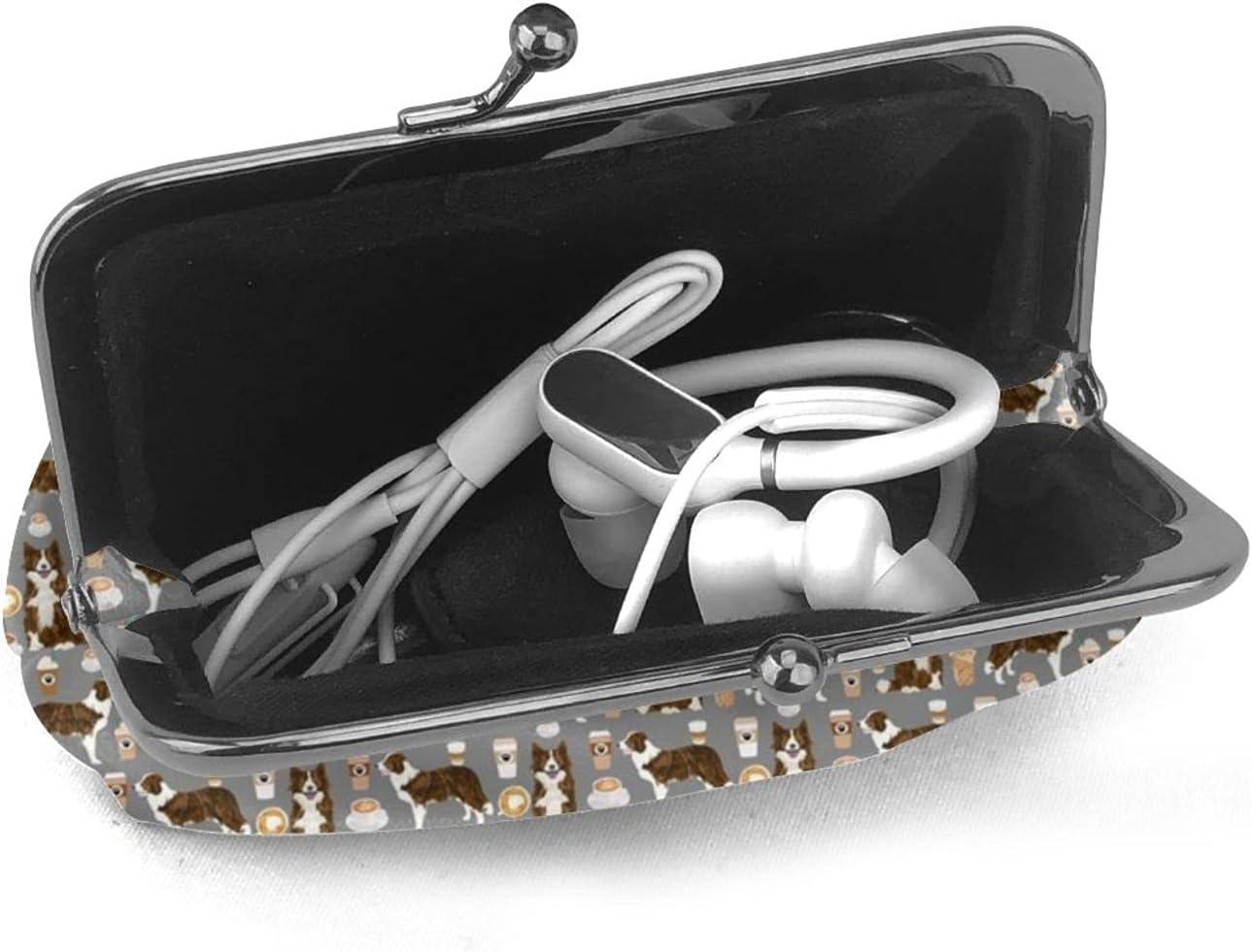 Brindle Border Collie 1247 Women'S Wallet Buckle Coin Purses Pouch Kiss-lock Change Travel Makeup Wallets, Black, One Size