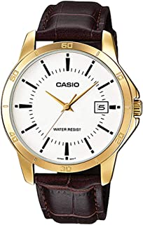 MTP-V004GL-7A Men's Standard Leather Band Gold Tone White Dial Date Watch