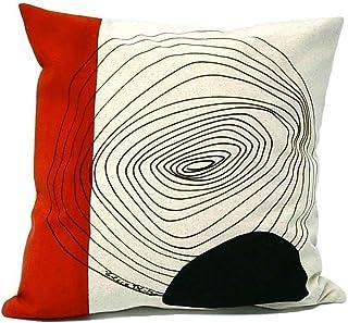 Cojín geométrico rojo y negro,diseño original BeccaTextile.