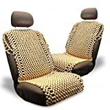 Zone Tech Royal Natural Wood Bead Seat Cover- 2-Pack Full Car Massage Cool Premium Comfort Cushion - Reduces Fatigue The Car, Truck or Your Office Chair
