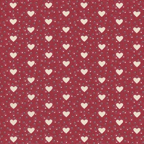 Tela de algodón estampada 'Corazones de amor' - crema y gris medio sobre un fondo rojo - 100% algodón suave | ancho: 160 cm (por metro lineal)*