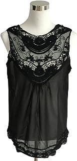 NMY Chaleco de Verano para Mujer de chifón de Encaje sin Mangas Casual Top con Cuello en V Camiseta