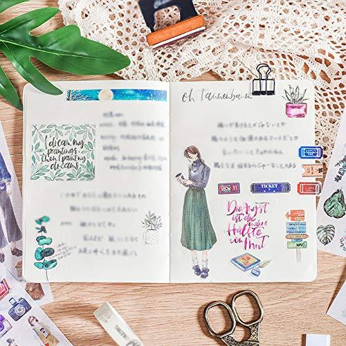 Cdet 3X Pegatinas Lindo Diario de Viaje DIY Manual Sticker Memo Scrapbooking Pintado a Mano Notebook Album Sticker Regalo decoraci/ón(Planta Verde)