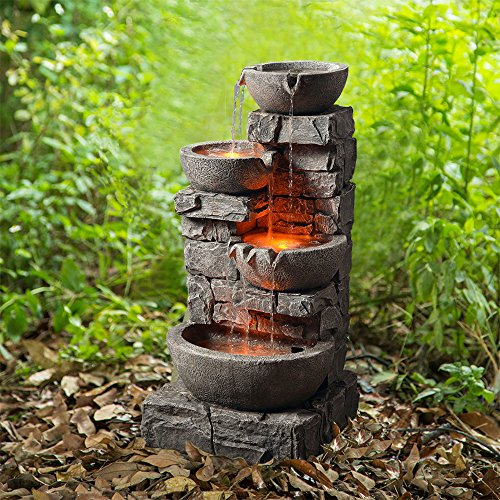 Peaktop 201601PT Outdoor Garden Water Stacked 3 Tier Bowls Waterfall Fountain with LED Light, 33' Height, Stone Gray