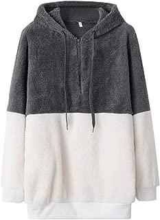 wodceeke Womens Fashion Long Sleeve Zip Up Hoodie Sweater Casual Color Block Sweatshirt Pullover Tops