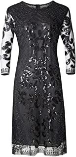 Women's Sequined Dress Sexy Sparking Long Sleeve Scoop Neck Solid Color Slim Long Work Party Club Cocktail Dresses