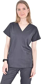 mediChic Marilyn Monroe Signature Women's Embroidered Pocket V-Neck with Elastic Back Scrub Top