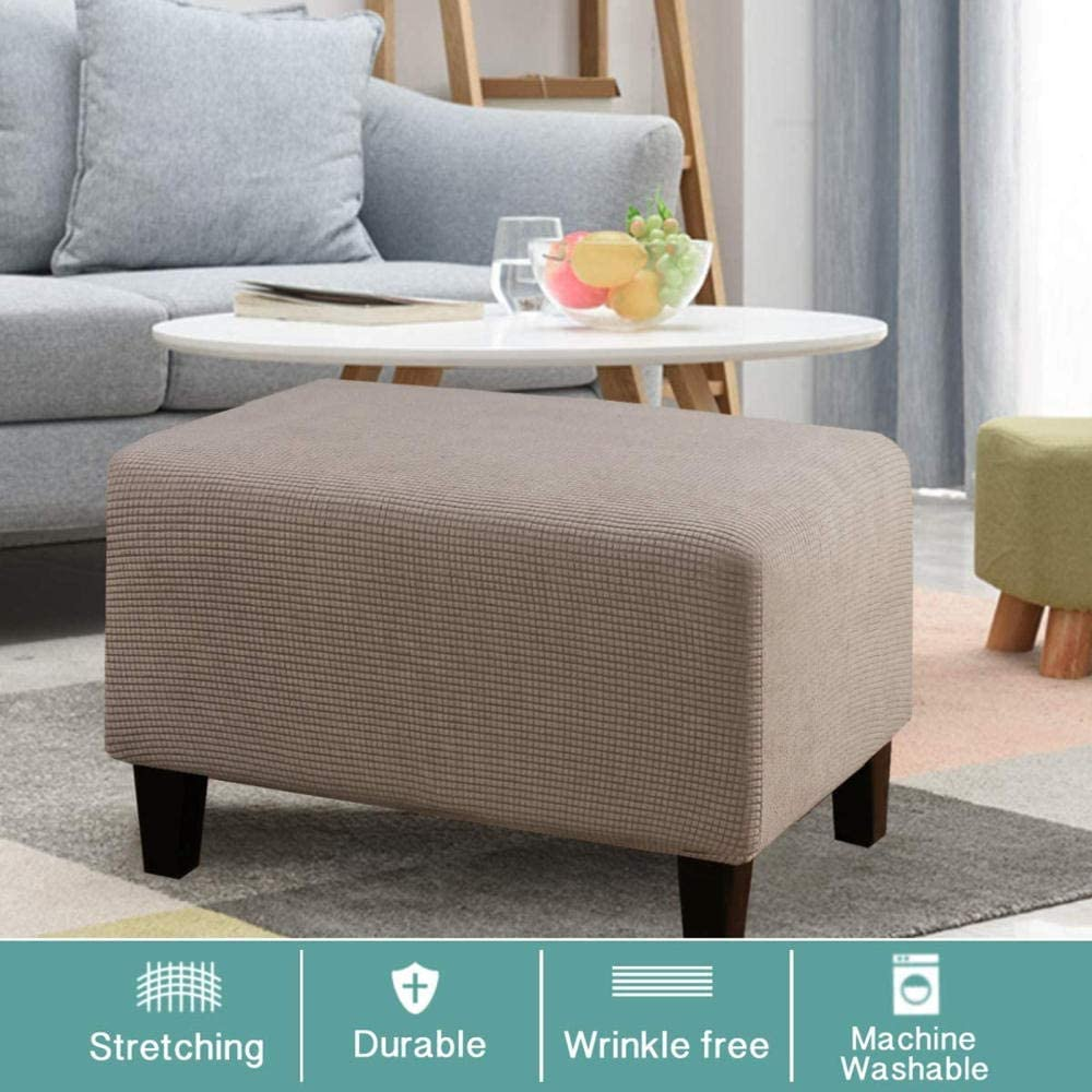 Torlia Stretch Ottoman Cover Ottoman Slipcovers Rectangle Foot Stool Stretch Covers Ottoman Foot Rest Cover,Thick Jacquard Fabric with Elastic Bottom Washable-Beige/_Large