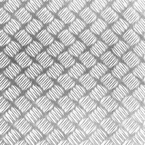 Klebefolie Industrial-Optik Metall Riffel glänzend mit Struktur Dekofolie Möbelfolie Tapeten selbstklebende Folie, PVC, ohne Phthalate, silber, 67,5cm x 1,5m, Stärke: 0,215 mm, Venilia 53138