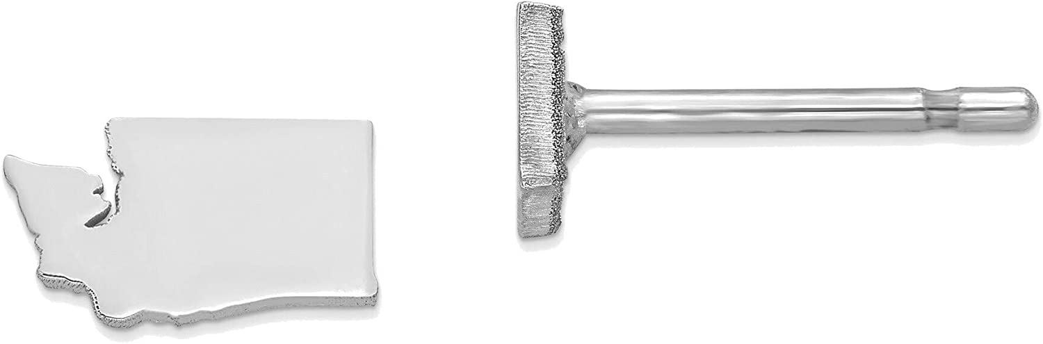 14kt White Gold WA Small State Earring