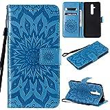 KKEIKO Hülle für Nokia 8.1 Plus, PU Leder Brieftasche Schutzhülle Klapphülle, Sun Blumen Design Stoßfest Handyhülle für Nokia 8.1 Plus - Blau
