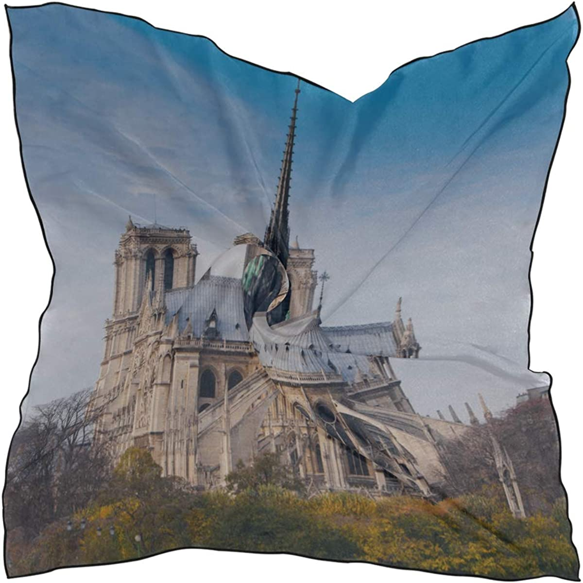 Soft Polyester Silk Square Scarf Fashion Print Charming View Notre Dame De Paris Headband Scarves Head Scarfs For Girls Scarf Lightweight Multiple Ways Of Wearing Daily Decor