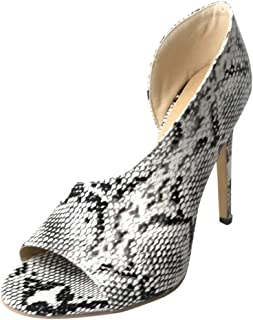 2019 New ! Women Sexy Asymmetrical Pumps Snakeskin Printed Peep Toe Heeled Sandals High Stiletto Pumps by Lowprofile