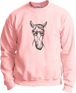 ThisWear Cool Horse Gifts Horse Wearing Sunglasses Horse Crewneck Sweatshirt