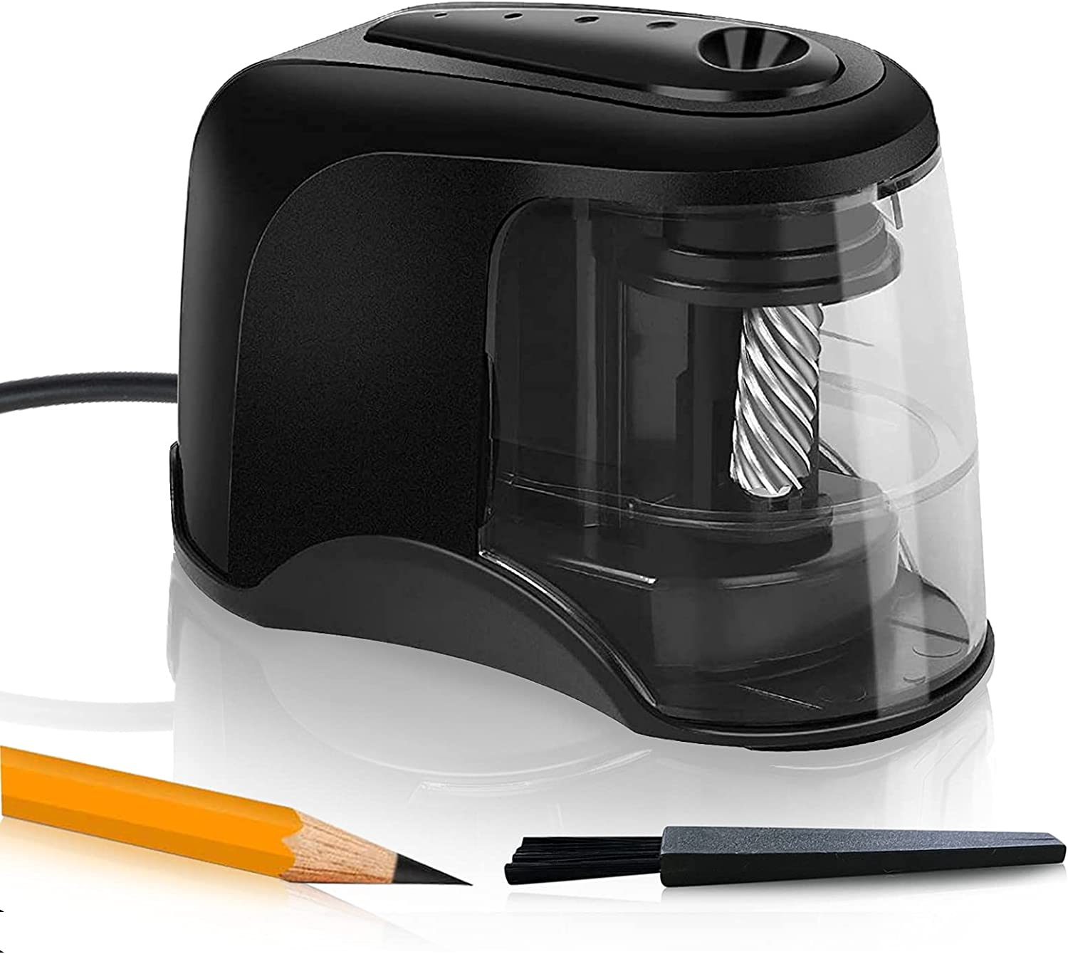Pencil Sharpener Electric Pencil Sharpeners, Heavy Duty Helical Blade to Fast Sharpen,Pencils Sharpener for USB/Battery Operated, Suitable for No.2/Colored Pencils(6-8mm)/Classroom/Home/Office