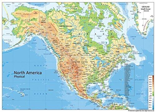 Physikalische Karte Nordamerika – Papier laminiert – A1 Größe 59,4 x 84,1 cm