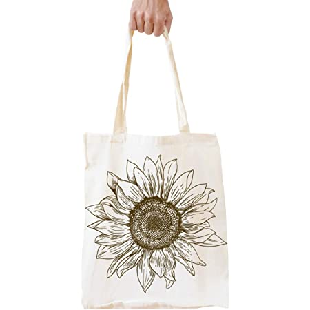 Women Eco Shopper Bag Flower Cotton Tote Bag