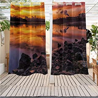DONEECKL Landscape Sliding Door Curtain USA Missouri Kansas City Scenery of a Sunset Lake Nature Camping Themed Art Photo Insulated with Grommet Curtains for Bedroom W72 x L84 inch Multicolor