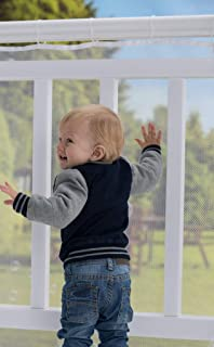 Roving Cove | Baby Safety Outdoor Railing Net | Balcony Deck Banister Guard | Baby Proofing Stairs Rail Screen Cover | Child Proof Patio Fence | Safe Rail - Outdoor 10ft L x 3ft H - Pearl White