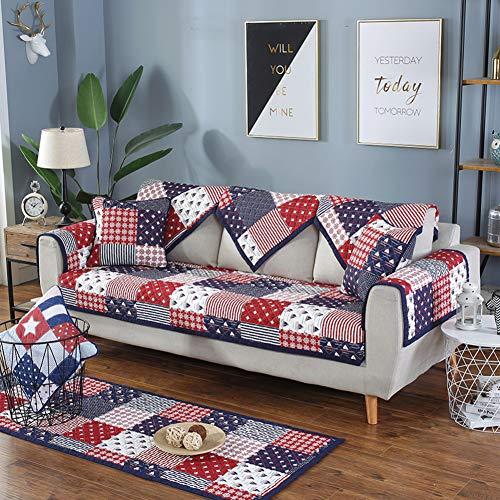 YEARLY Acolchado Funda de sofá, Antideslizante Four Seasons Funda de sofá Apoyabrazos & Respaldo Cubre para sofá Algodón Funda para sofá Protector de Muebles-Azul 60x60cm(24x24inch)