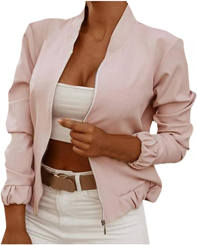 Women's Lightweight Bomber Jacket Long Sleeve Zip Up Jacket Fall Outerwear Casual Fashion Cardigan Coat Windbreaker