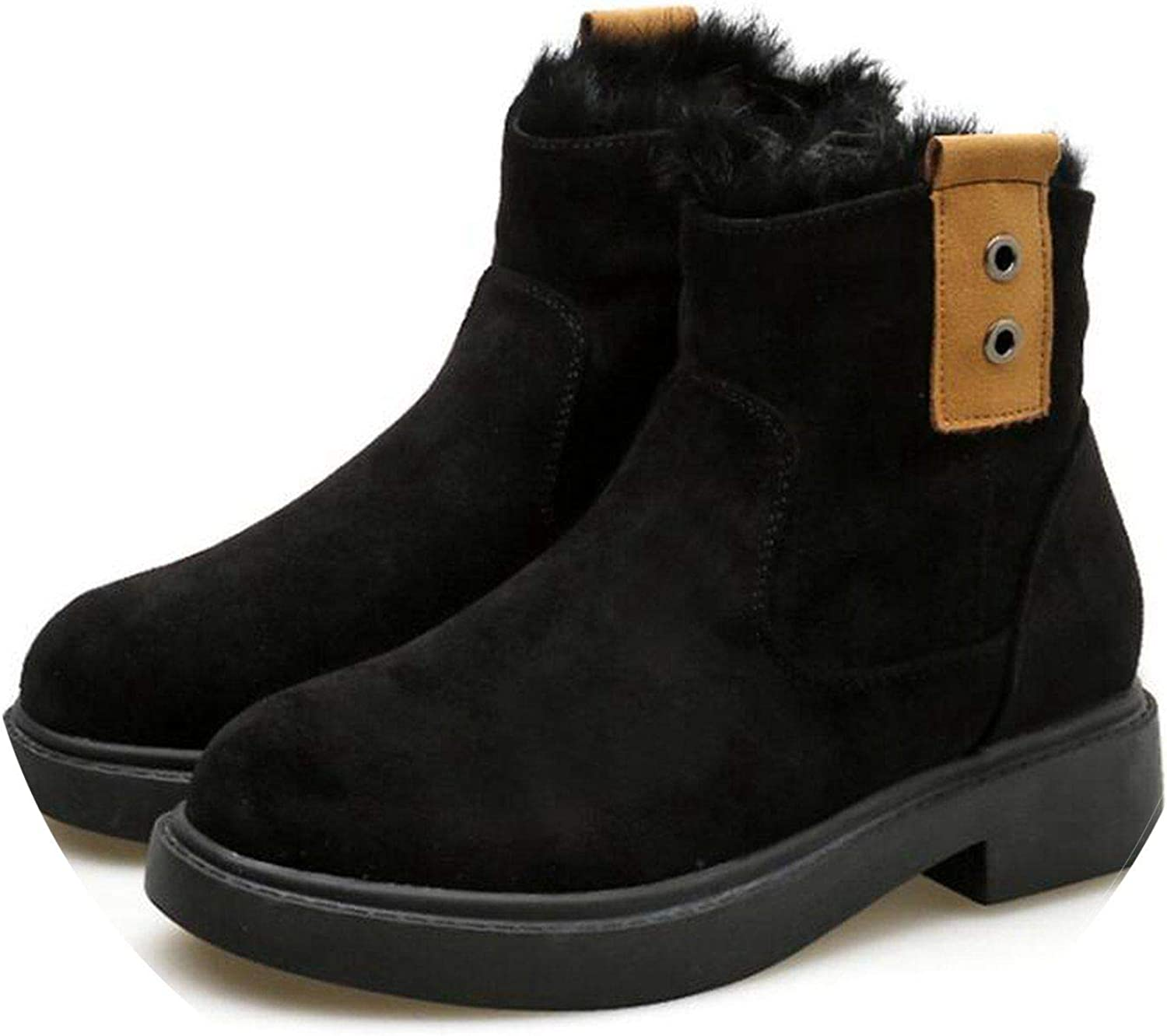 Women Winter Boots Suede Ankle Boots Warm Fur Snow Boots Chelsea Boots Low Heel