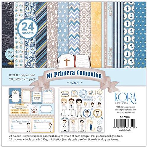 """Pack de 24 papeles - Mi Primera Comunión - niño (8""""x8"""")"""