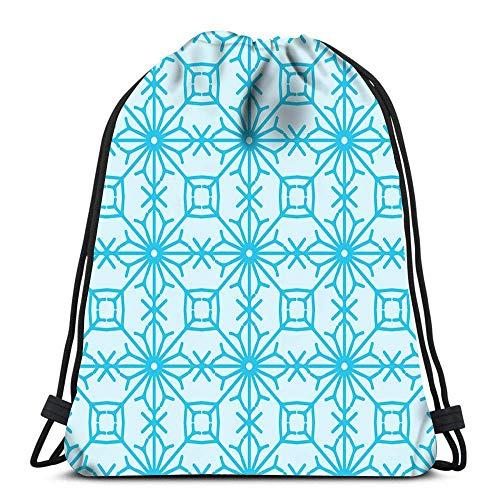 N / A Rucksackbeutel mit Kordelzug Blauer russischer Damast im russischen Gzhel-Stil Tragbare Umhängetaschen Reisesport-Sporttasche 36 x 43 cm / 14,2 x 16,9 Zoll