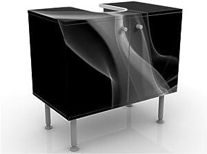 Meuble sous Vasque Design Silver Smoke 60x55x35cm, Petit, 60 cm de Large, réglable, Table de lavabo, Armoire de lavabo, lavabo, Meuble Bas, Baignoire, Salle de Bains, Armoire de Salle Bains