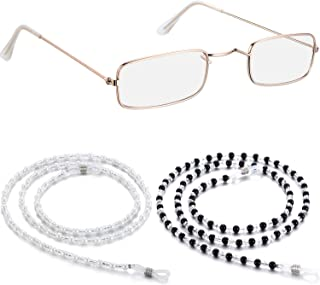 1 Pair Small Old Man Costume Glasses Granny Dress up Eyeglasses with 2 Beaded Sunglasses Chains