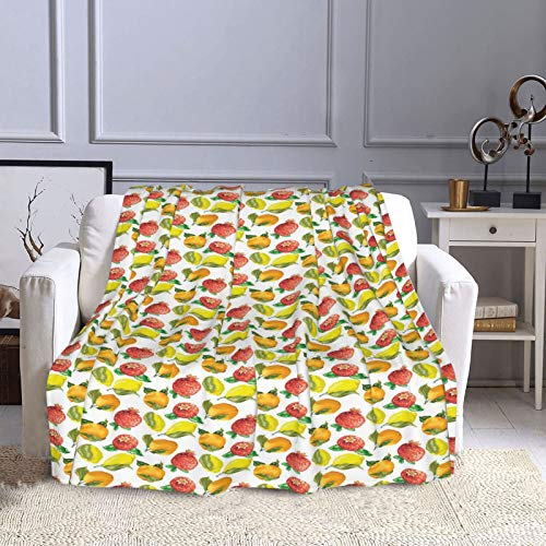 NISENASU Franela Manta para Cama Sofá Silla,Patrón de Vitamina C de limón Naranja Granada estacional,Cálida,Cómoda Y Duradera 130X150CM