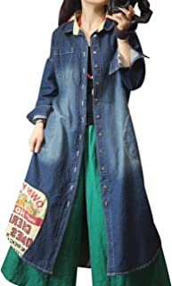 WF9 Women Casual Long Button Down Denim Jacket Loose Fit Jean Trench Coat Outwear 4/5 Sleeve Ripped Large Flap Pockets