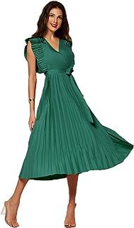 MAI&FUN Women Casual Dress V-neck Sweet Sleeveless Summer Fashion Ladies