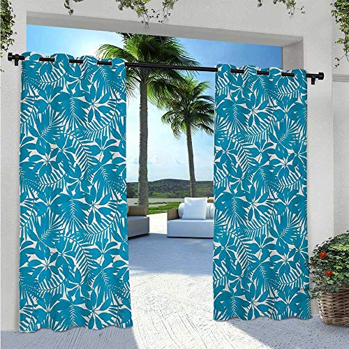 Adorise Outdoor Door Curtain Tropical Tree Leaves Pattern Hawaiian Nature and Vegetation Foliage in Blue White Waterproof Outside DéCor for Bedroom/Living Room Blue White W120 x L84 Inch