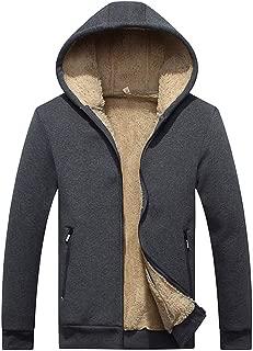 Sherostore ♡ Men's Casual Winter Warm Lined Zip Up Hooded Sweatshirt Jacket Coat Long Sleeve Outwear