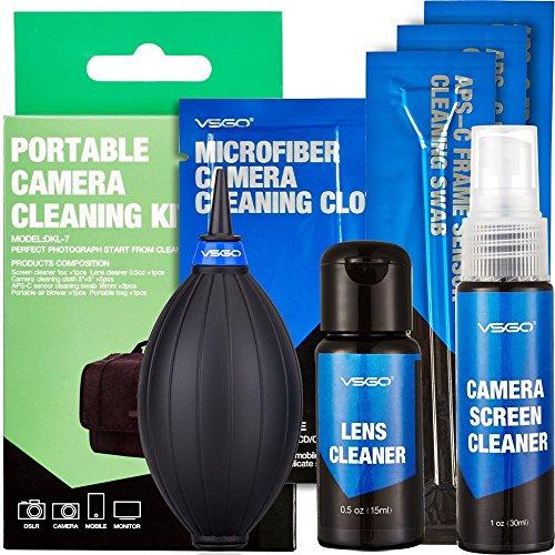 UES 6-in-1 Kit de Limpieza Profesional para cámaras réflex Digitales (Limpiador Líquido por Lente 10ml, Limpiador Líquido por Pantalla 30ml, 3X Torunda 16mm, Aire comprimido, 5X Paños de Limpieza)